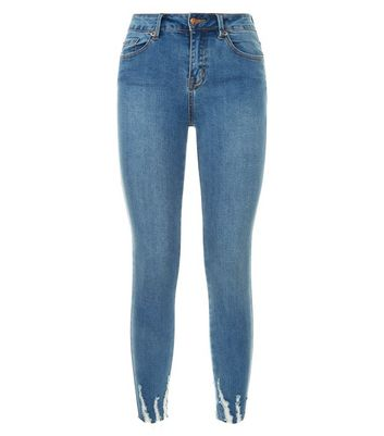 Blue Distressed Hem Cropped Skinny Jenna Jeans New Look