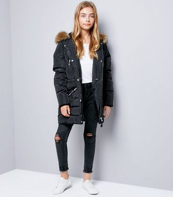 Teens Black Faux Fur Trim Puffer Jacket New Look