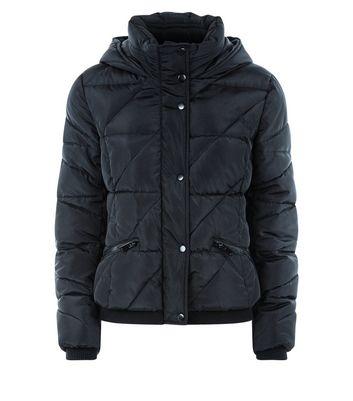 Teens Black Hooded Puffer Jacket New Look