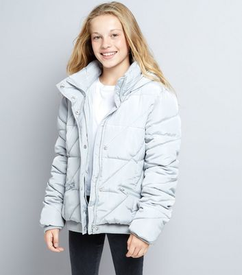 Teens Grey Hooded Puffer Jacket New Look