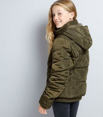 Teens Khaki Hooded Puffer Jacket New Look
