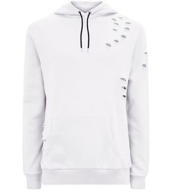 Pale Grey Ripped Pocket Front Hoodie New Look