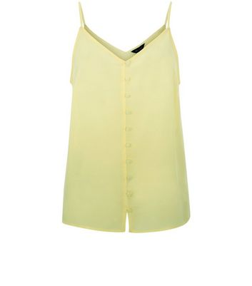 Yellow Button Front Cami Top New Look
