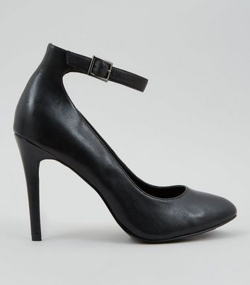 black ankle strap court shoes uk