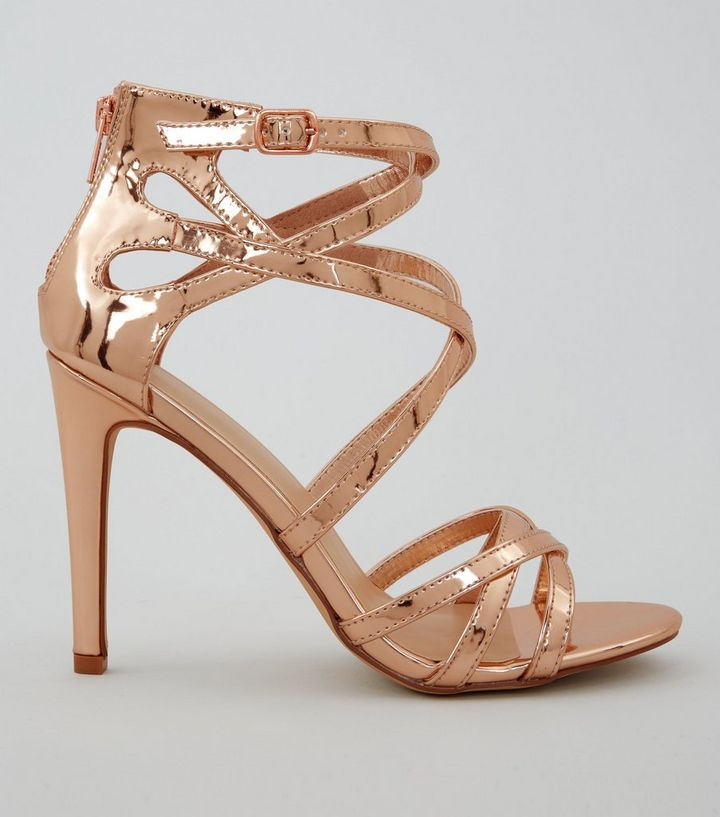 790c496db5876 Wide Fit Rose Gold Metallic Strappy Heels   New Look