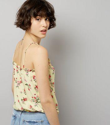 Yellow Floral Print Drawstring Hem Cami Top New Look