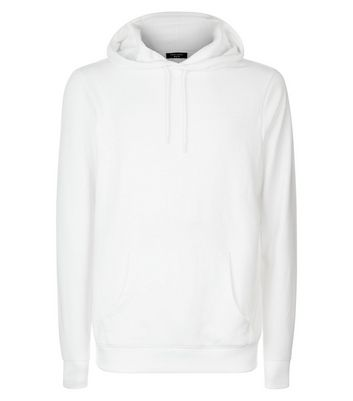 White Pocket Front Hoodie New Look