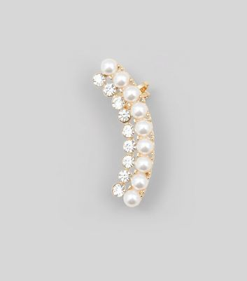 Gold Pearl and Diamante Earcuff New Look