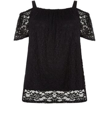 Curves Black Lace Cold Shoulder Bardot Neck Top New Look