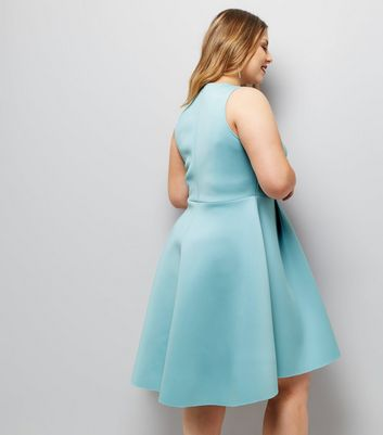 Curves Pale Blue Scuba Dip Hem Skater Dress New Look