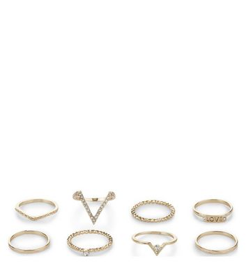 8 Pack Gold Textured Stack Rings New Look