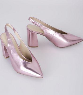 Wide Fit Pink Metallic Pointed Sling Back Heels