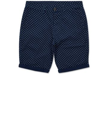 Navy Triangle Print Shorts New Look