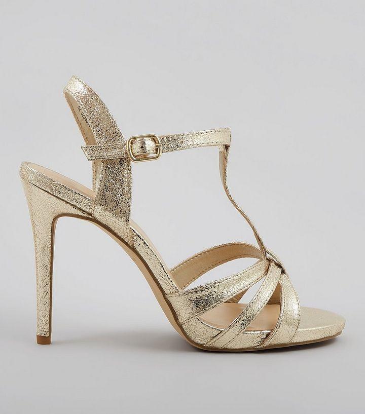 c12453e8de7e Wide Fit Gold Multi Strap T Bar Heeled Sandals