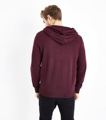 Burgundy Zip Front Hoody New Look