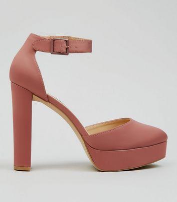 Pink Satin Platform Heels New Look