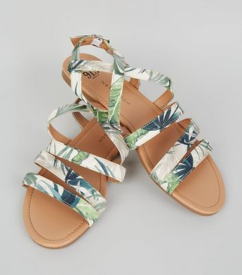 Teens Green Tropical Print Sandals New Look