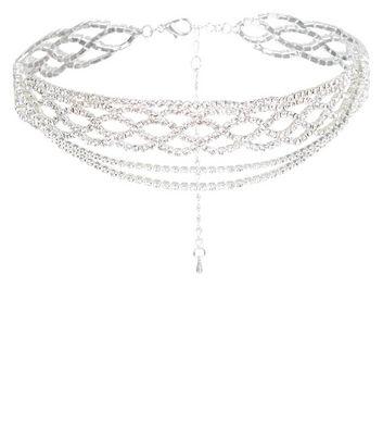 Silver Diamante Layered Choker New Look