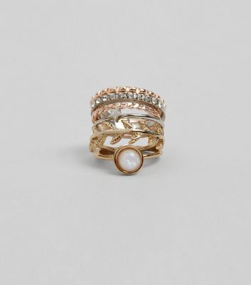 Gold Iridescent Ring Stack New Look