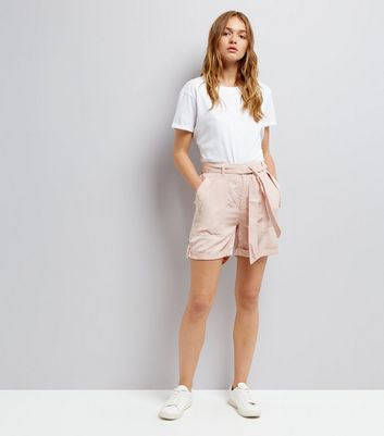 Mid Pink Tie Waist Shorts New Look