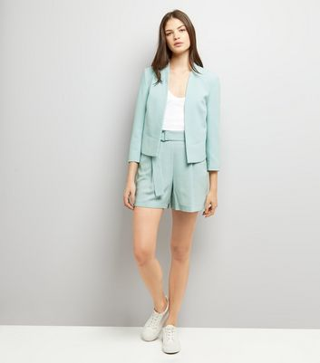 Mint Green Tie Waist Crepe Shorts New Look