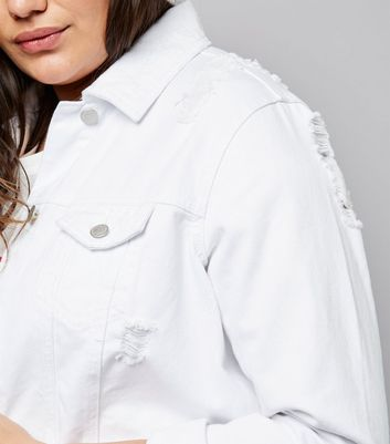 Curves White Ripped Denim Jacket New Look