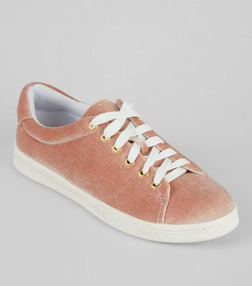 Teens Pink Velvet Trainers New Look