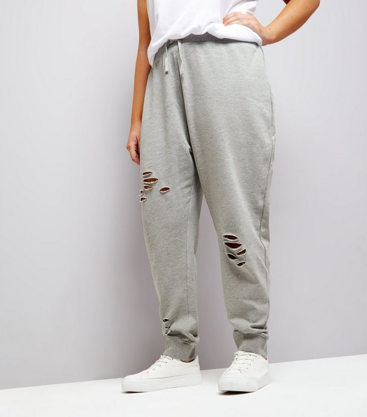 c5ab839f458489 Curves Grey Ripped Jersey Joggers   New Look
