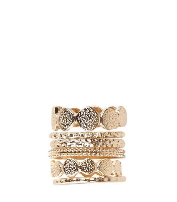 6 Pack Gold Textured Ring Stack New Look