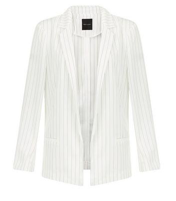 White Pinstripe Jacket New Look
