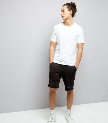 Black Ripped Jersey Shorts New Look