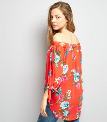 Red Floral Print Tie Sleeve Bardot Neck Top New Look