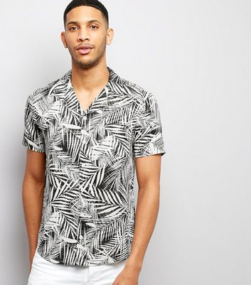 White Palm Print Short Sleeve Shirt New Look