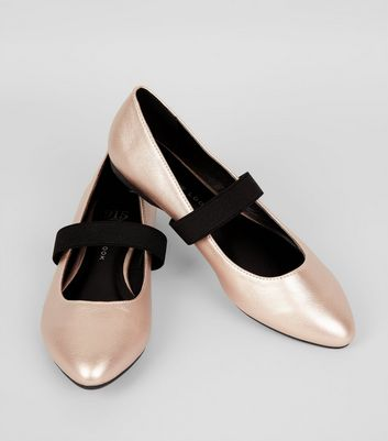 Teens Rose Gold Elastic Strap Pointed Flats New Look