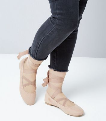 Teens Shell Pink Suedette Ankle Tie Ballet Pumps New Look