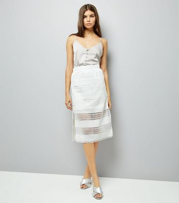 White Crochet Detail Midi Skirt New Look