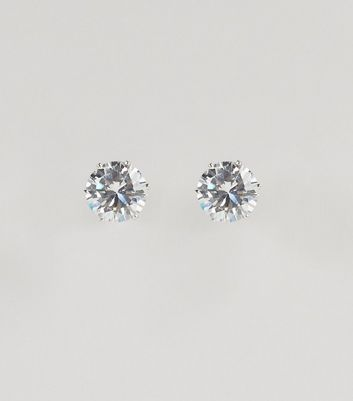 Silver Crystal Stud Earrings New Look