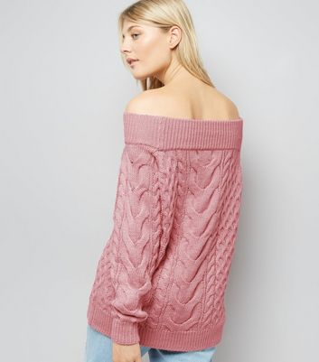 Pink Cable Knit Bardot Neck Jumper New Look
