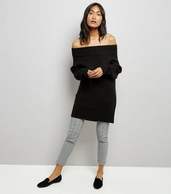 Black Bardot Neck Longline Jumper New Look