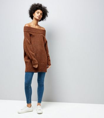 Brown Bardot Neck Longline Jumper New Look