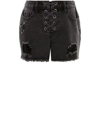 Teens Black Lace Up Front Ripped Denim Shorts New Look