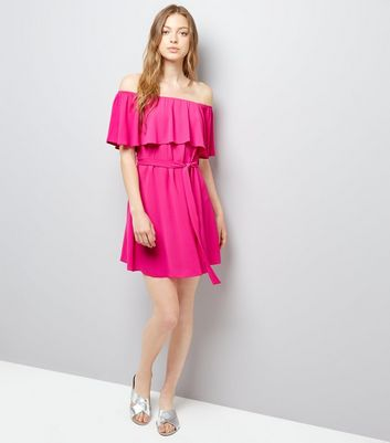 Pink Frill Layered Bardot Neck Dress New Look