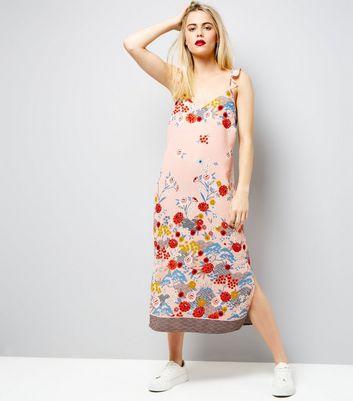 Pink Floral Print Frill Strap Slip Dress New Look