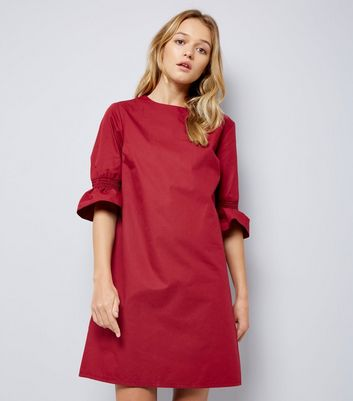 Burgundy Bell Sleeve Tunic Dress New Look