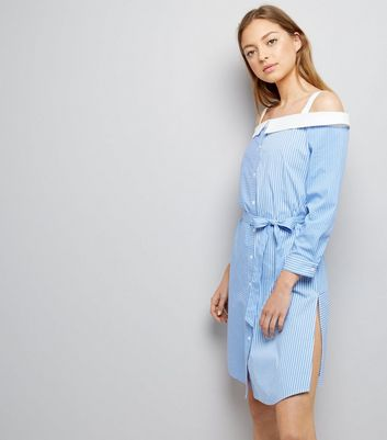 Blue Stripe Bardot Neck Shirt Dress New Look