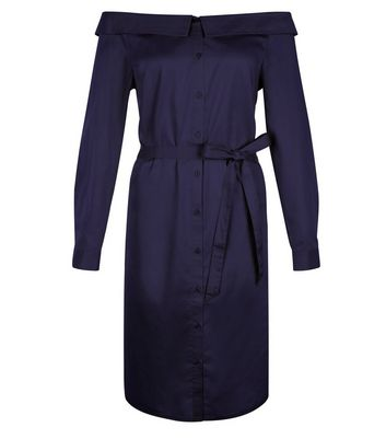 Navy Bardot Neck Shirt Dress New Look