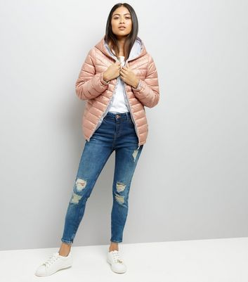 Petite Pink Padded Hooded Coat New Look