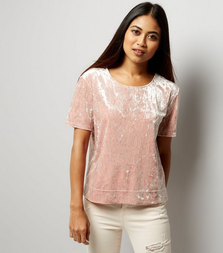 10d8ebe67a Petite Pink Crushed Velvet T-Shirt