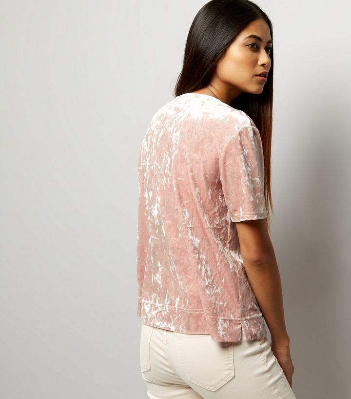 36e147d86f Home · Womens · Clothing · Tops · Petite Pink Crushed Velvet T-Shirt. ×. ×.  ×. Shop the look