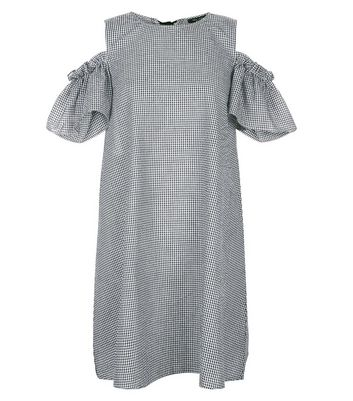 Petite Black Gingham Cold Shoulder Dress New Look